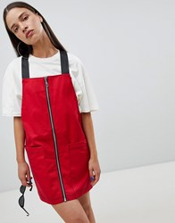 The Ragged Priest Pinafore Dress With Zip Front Red