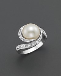 Bloomingdale's Freshwater Pearl Ring With Diamonds 10 11Mm No Color