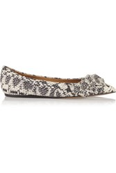 Isabel Marant Python Effect Leather Point Toe Flats Ivory