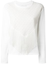 See By Chloe Fringed Front Sweater White