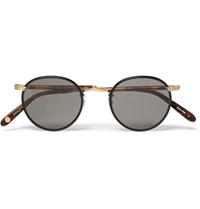 Garrett Leight California Optical Wilson Round Frame Acetate And Gold Tone Sunglasses Black