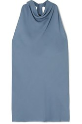 Theory Twist Back Silk Crepe Top Blue