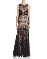 Aidan Mattox Embroidered Gown Rose Gold Black