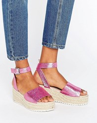 Asos Take Off Wedge Sandals Pink Metallic