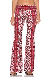 Gypsy 05 Printed Bell Bottom Pant Red