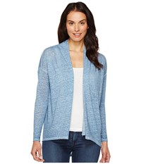 Vince Camuto Long Sleeve Pigment Dye Drape Front Cardigan Night Dive Women's Sweater Blue