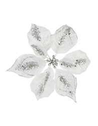 Lord And Taylor Sequined Metallic Poinsettia Clip Silver