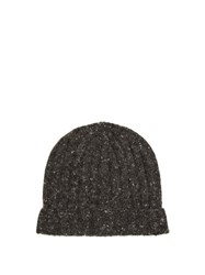 Brunello Cucinelli Ribbed Knit Wool Blend Beanie Hat Charcoal