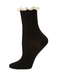 Free People Bryant Lace Trimmed Ribbed Boot Socks Black