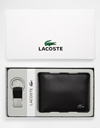 Lacoste Leather Wallet And Keyring Set Black