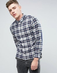 Pepe Jeans Yank Regular Fit Shirt Bay Check Elbow Patches Denim Blue