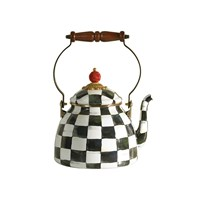 Mackenzie Childs Courtly Check Enamel Tea Kettle Small