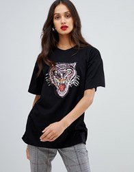 Ax Paris Embellished Tiger T Shirt Black