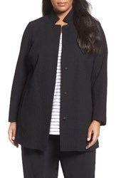 Eileen Fisher Plus Size Women's Grid Stretch Cotton And Tencel Blend Jacket