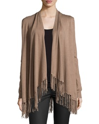 Chelsea And Theodore Fringe Trim Open Front Cardigan Toasty Tau