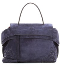 Tod's Exclusive To Mytheresa.Com Wave Small Suede Tote Blue