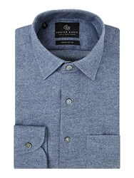 Chester Barrie Men's Contemporary Brushed Flannel Shirt Blue