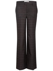 Oui Soft Check Trousers Copper Grey