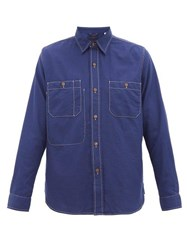 The Gigi Lexell Contrast Stitch Cotton Shirt Navy