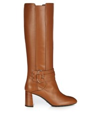 Tod's Gomma Leather Knee High Boots Tan