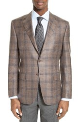 Canali Men's Big And Tall Classic Fit Plaid Wool Blend Sport Coat Brown