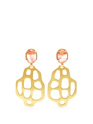 Marte Frisnes Avalon Quartz And Gold Plated Earrings Pink