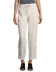 Lord And Taylor Petite Roll Up Linen Pants Beige