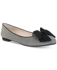 Nina Wisdom Bow Tie Evening Flats Women's Shoes Steel