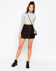 Eleven Paris Checked Skirt With Pleat Detail Black