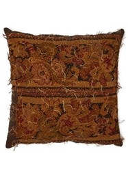 By Walid Embroidered 17Th Century Tapestry Cushion Brown Multi