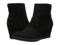 Minnetonka Side Zip Hidden Wedge Black Suede Women's Boots