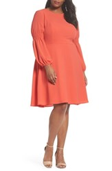 London Times Plus Size Women's Smocked Puff Sleeve Fit And Flare Dress Begonia