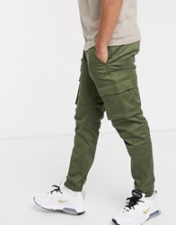 Only And Sons Slim Fit Cargo With Cuffed Bottom In Khaki Green