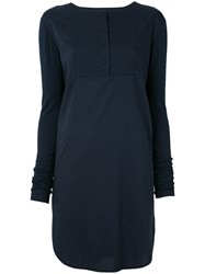 Kristensen Du Nord Long Sleeve Panel Dress Women Cotton Spandex Elastane 5 Blue