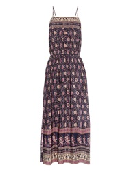 Sea Pin Tuck Bohemian Print Silk Dress