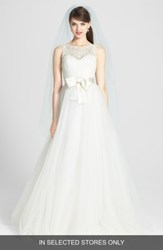 Amsale Women's Quinn French Lace Illusion Bodice Tulle Wedding Dress