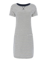 Barbour Striped Jersey Monreith Shift Dress Blue And White Blue And White