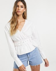 Neon Rose Wrap Blouse With Belted Waist White