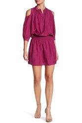 Nicole Miller Smocked Silk Shirt Dress Pink