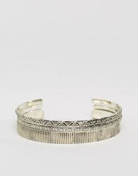Asos Engraved Bangle Pack In Burnished Finish Silver
