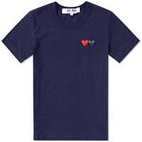 Comme Des Garcons Play Double Heart Tee Blue