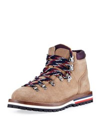 Moncler Blanche Glittered Suede Hiking Boot Camel