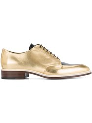 Lanvin Contrast Lace Up Shoes Lamb Skin Leather Metallic