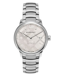 Burberry 40Mm Classic Round Bracelet Watch W Check Dial Silver White