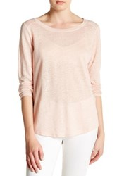 H By Bordeaux Long Sleeve Linen Tee Pink