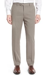 Monte Rosso Men's Flat Front Solid Wool Trousers Tan