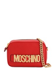 Moschino Logo Lettering Leather Camera Bag Red