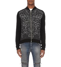 Just Cavalli Safety Pin Print Wool Cardigan Blk Custom Skull Print