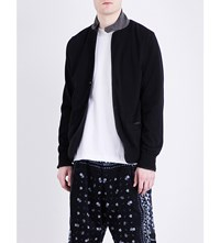 Sacai Contrast Collar Cotton Knitted Blazer Black