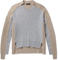 Burberry Runway Two Tone Panelled Cashmere Sweater Gray